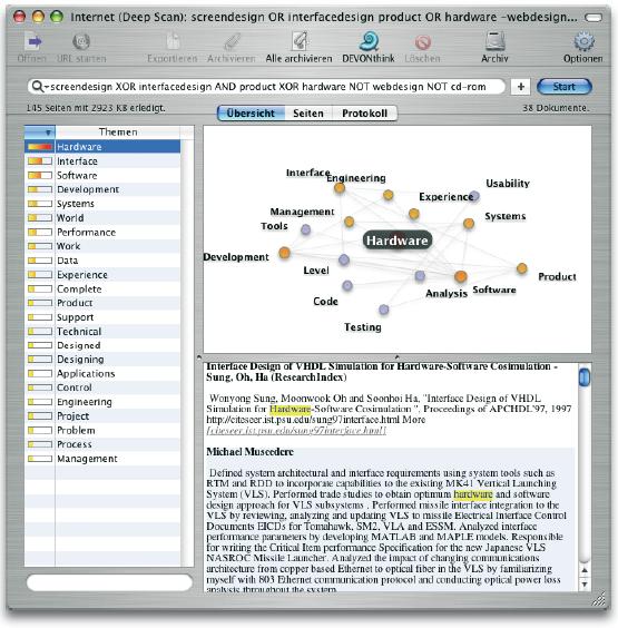 Screenshot der Suchmaschinen- Software DEVONagent (www.devon-technologies.com). Es wurde nach den Begriffen ›Screendesign‹ und ›Interfacedesign‹ gesucht. Allerdings bezogen auf Hardware-Produkte. Das Auffinden von Treffern aus den Bereichen ›Internet‹ und ›CD-ROM‹ sollte mit dem Einsatz von boolschen Operatoren vermieden werden.