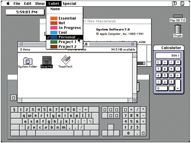 Screenshot des alten Apple Betrienssystems Mac OS 7.0