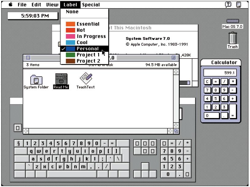 Screenshot des alten Apple Betrienssystems Mac OS 7.0