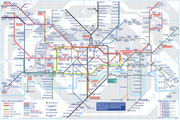 Der aktuelle Streckenverlaufsplan der Londoner U-Bahn von 2006 (www.thetube.com).