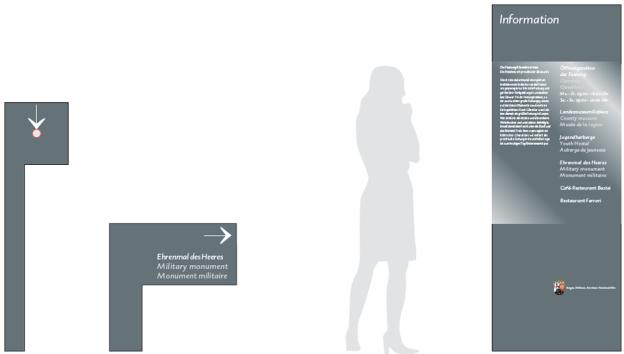 System-Info, Frontansichten der Elemente. Das Wappen von Rheinland-Pfalz wird wie ein ›Edelstein‹ als Relief mittig auf bestimmten Flächen angebracht.