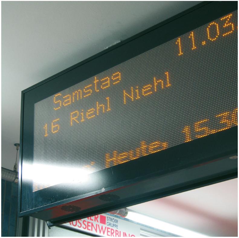 Abbildung zu Display-Kontraste. Display der U-Bahn in Köln.