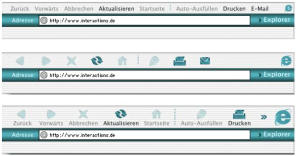 Die Schaltflächen des Explorer-Browsers sind bei dieser Version mal mit Icons und Titel, mal nur mit Icons ohne Titel und mal nur mit Titeln versehen. In den Software-Einstellungen kann der Anwender festlegen, in welcher Weise die Menüleiste dargestellt wird.