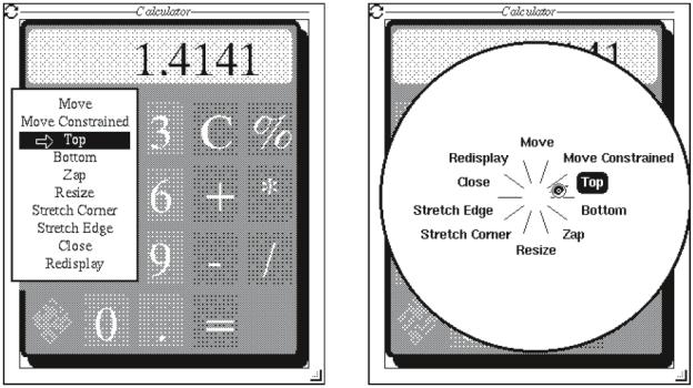 Anhand dieser Beispiele von Pie Menus aus dem Jahr 1987 von Don Hopkins wird der Unterschied eines gelisteten zu einem kreisförmigen Menü deutlich, aber auch, dass das Pie Menu schon seit einiger Zeit Anwendung findet (www.donhopkins.com).