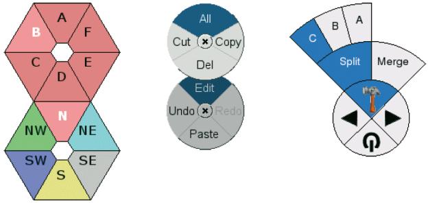 Das QtPieMenu von Andreas Aardal Hanssen zeigt, dass auch das kreisförmige Menü ein PopupMenü ist bzw. über die direkt im Kreis angeordneten Menüpunkte hinaus weitere UnterMenüpunkte beinhalten kann (http://doc.trolltech.com).