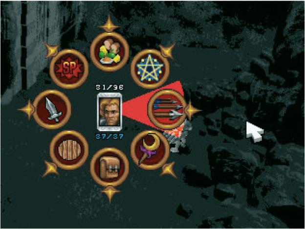 ›Silver‹ von Spiral House/ Infogrames: (www.silvergame.com). Für Computerspiele bietet sich das Pie Menu einerseits an, weil es eine schnellere Auswahl ermöglicht als ein ListenMenü und andererseits passt es sich besser in die Gesamtgestaltung eines Spieles ein.