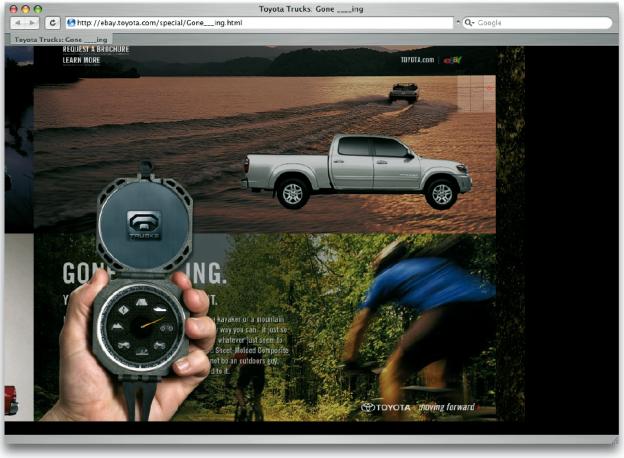 In Analogie zur Navigationsthematik und der Eigenschaft, dass ein Kompass rund ist, bot sich ein Pie Menu bei der Thematik dieser Internetseite an (© Toyota).