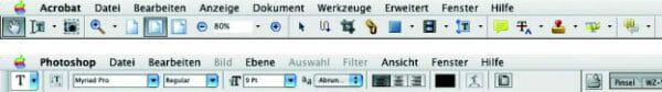 Die Icons, die bei der Adobe-Produkt-Familie verwendet werden, sind programmübergreifend sehr ähnlich. Als Beispiel sieht man hier die Menüleiste von Adobe Acrobat Professional 6.0 und von Adobe Photoshop CS.