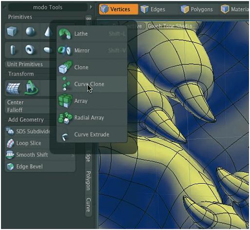 Bei komplexen Software-Produkten, wie z. B. 3D-Software bieten sich die Vorteile eines Pie Menus geradezu an, hier am Beispiel der 3D-Software ›Modo‹ von Luxology (www.modo3d.com; www.mars-inc.net).