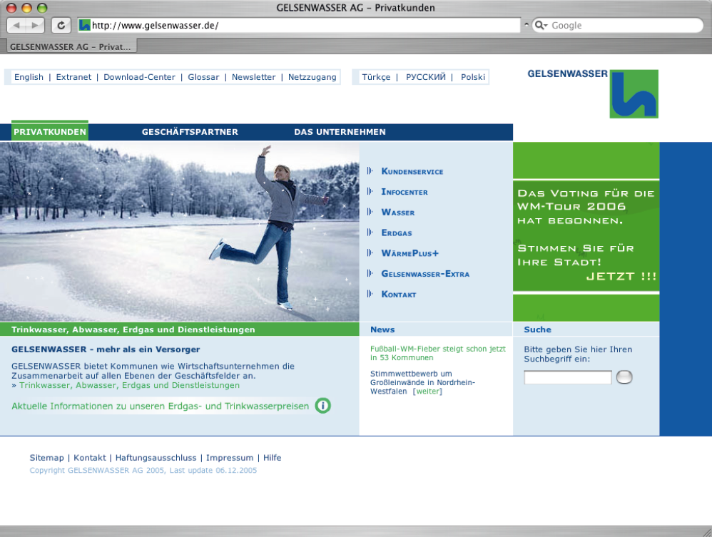 Screenshot der Website von Gelsenwasser.