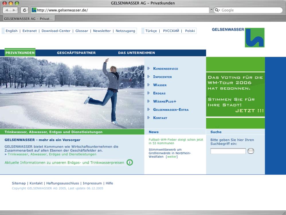 Screenshot der Website von Gelsenwasser.