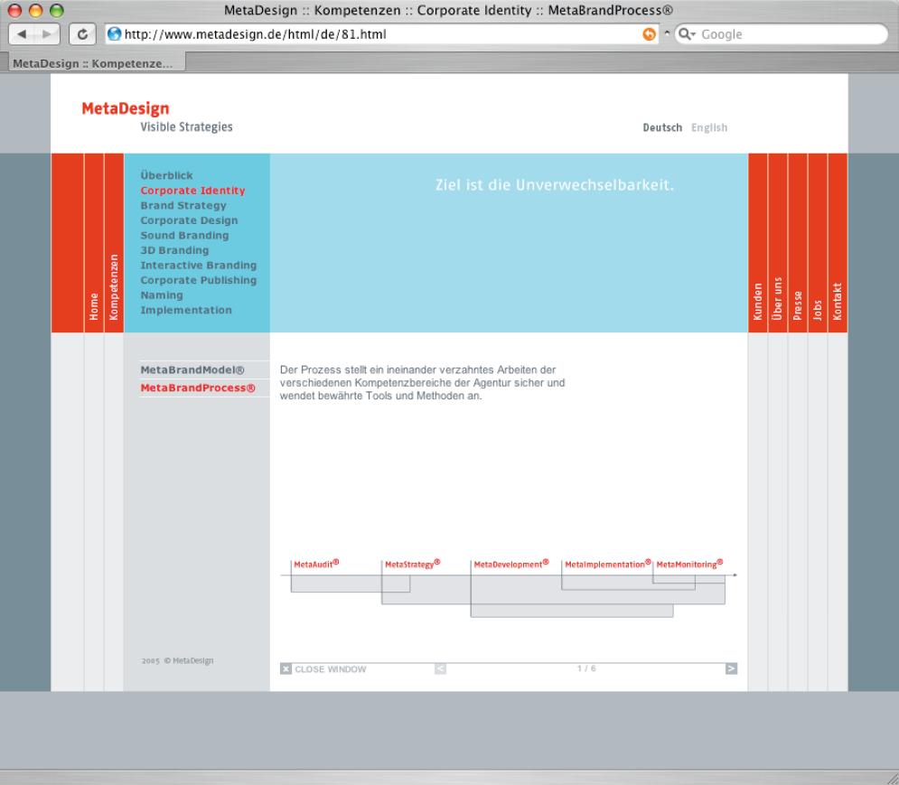 Screenshot der Website von MetaDesign.
