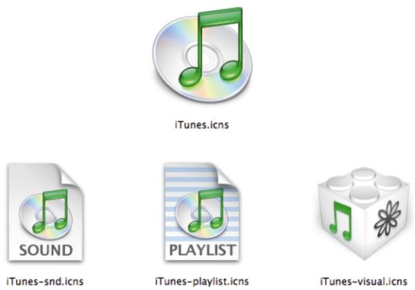 Die Icon-Familie der iTunes-Software von Apple. Diese Icons müssen sowohl zum OSX-Betriebssystem, als auch zur iTunes-Software, zu den Apple-Computern und zum iTunes-Hardware-Player passen. Dabei sollen die hohe Wertigkeit des Produktes und die des Anwenders deutlich werden. Außerdem muss nachvollziehbar sein, welche Funktion jede einzelne Datei repräsentiert.