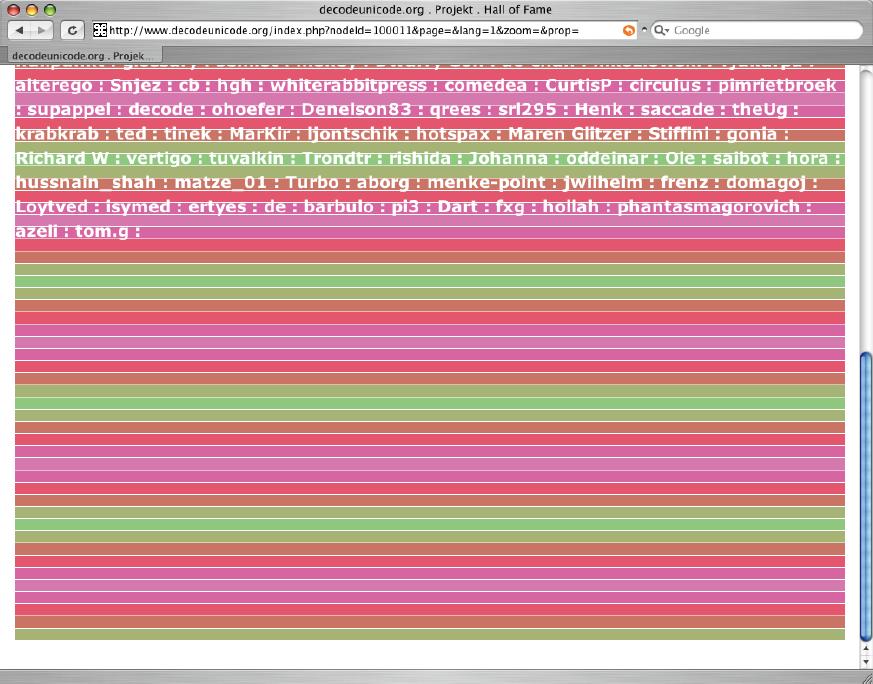 Screenshot der Website von decodeunicode.org