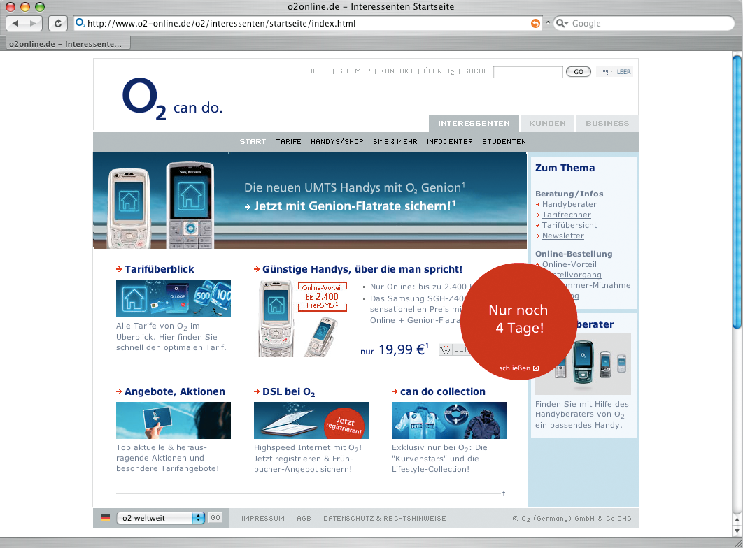 Screenshot der Website von O2.