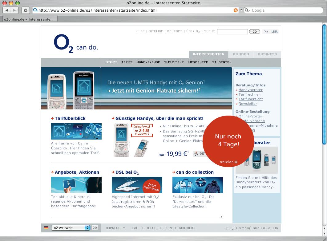 Screenshot der Website von O2.