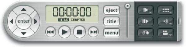 Icons auf einem Software-DVD-Player, hier von Mac OSX 10.3.