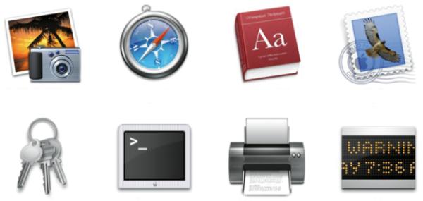 Icons des Macintosh-Betriebssystems OSX 10.3.9. Die obere Reihe zeigt Icons für Informationssoftware und in der unteren Reihe für Funktionssoftware. Diese Icons entsprechen nicht dem Ideal, denn die grundlegenden Eigenschaften eines Icons sind klare Formen, wenig Farbe und die Vermeidung von Fotorealismus.