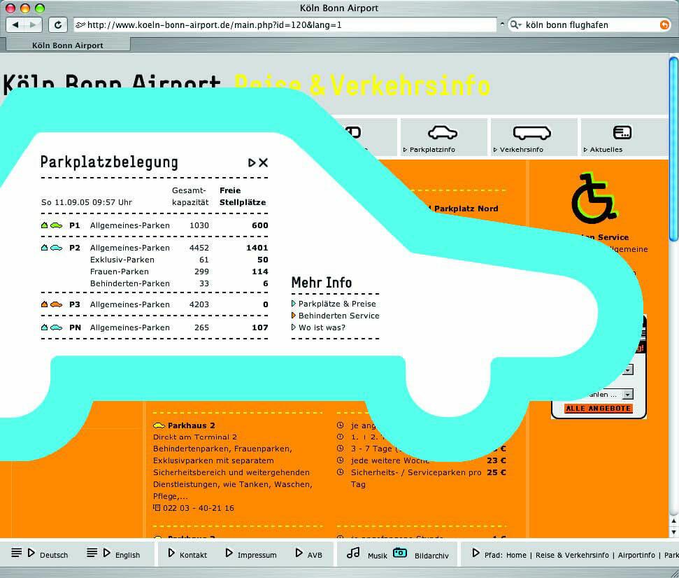 Screenshot der Website des Kölner Flughafens. Erstes Bild.