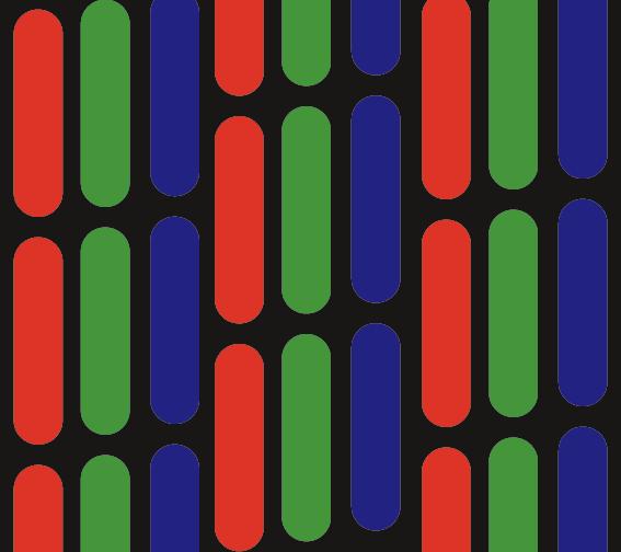 Bild des RGB-Farb-Rasters Eines Raster-Roehrenmonitors für den Artikel Wahrnehmung und Farbe.