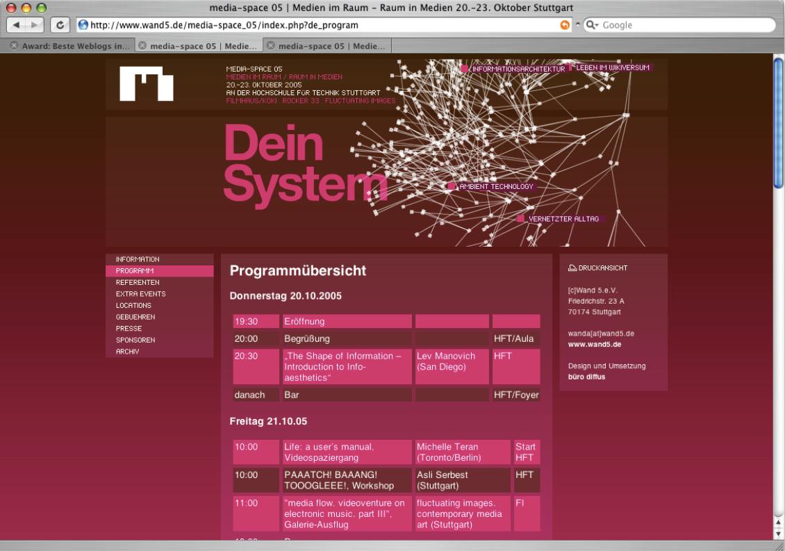 Screenshot der Website www.wand5.dein Rot- und Rosa-Farbtton-Kontrasten.
