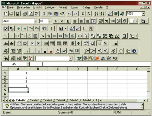 Screenshot von Microsoft Excel 97.