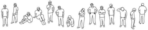 Mit einer 14stufigen Skala an Körperhaltungen wird dem Anwender die Beziehung zur jeweiligen Kontaktperson signalisiert: von positiv zugewandt bis ablehnend abgewandt.