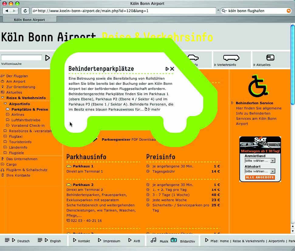 Screenshot der Website des Kölner Flughafens. Zweites Bild.