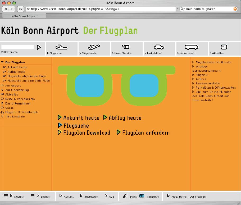 Screenshot der Website des Kölner Flughafens. Drittes Bild.