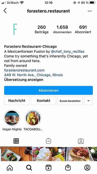 Beispiel für Beschreibungstext in Instagram Bio