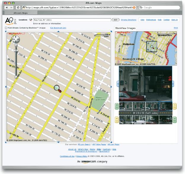 Mit dem Angebot von A9.com, Inc., einer Firma von amazon.com, kann man sich nicht nur einen genauen Straßenplan mit dem gesuchten Zielort anzeigen lassen, sondern in ausgewählten Regionen sogar Fotos vom Zielort bzw. von der kompletten Straße. Mit einer Scrollfunktion lässt sich dann auf der Straße virtuell flanieren und die Fassaden beider Straßenseiten betrachten (http://maps.a9.com).
