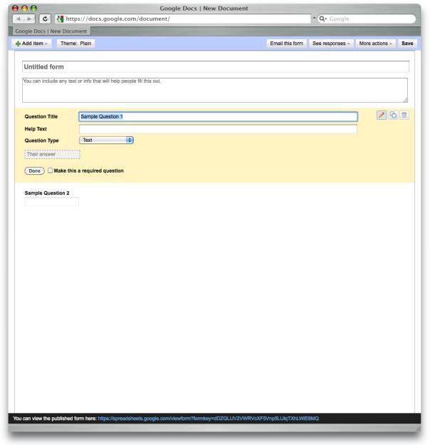 Google Docs – Formulargestaltung