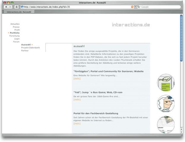 Screenshot der Internetseite www.interactions.de