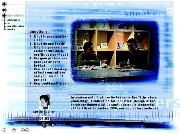 Screenshot der CD-ROM ›Digital Design 2000+‹ zum Thema Interaction- und Interfacedesign in Ausbildung und Beruf