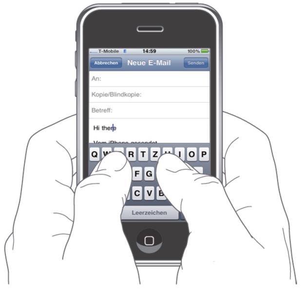 Bei dem Multi-Touch-Interface des iPhones lassen sich Abbildungen durch das Aufspannen bzw. das Zusammenschieben zweier Markierungspunkte mit zwei Fingern vergrößern oder verkleinern. Textkorrekturen können vorgenommen werden, indem mit einem Finger auf der zu ändernden Textstelle für kurze Zeit verweilt wird, bis eine Lupe erscheint. Mit ihr kann die Textstelle angesteuert werden, die korrigiert oder ergänzt werden soll. Nach der Auswahl erscheint ein Menü zum Auswählen, Kopieren und Einsetzen.