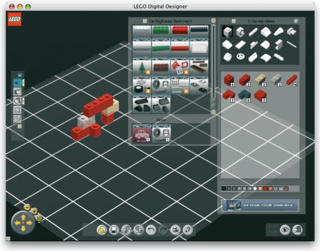Mit einer Software von LEGO kann der Anwender eigene LEGO-Modelle entwickeln, die über die Internetseite von LEGO vertrieben werden können (www.lego.com/factory).