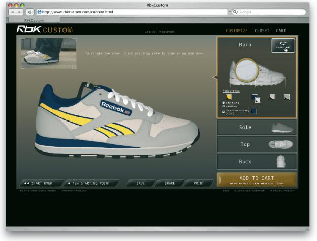 Die Firma Reebok bietet ihren Kunden mittels ihrer Internetseite www.rbkcustom.com eine Individualisierbarkeit der Produkte.