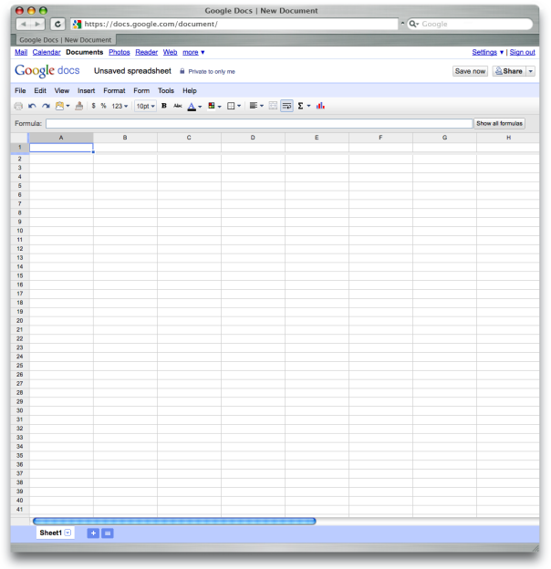 Google Docs – Tabellenkalkulation