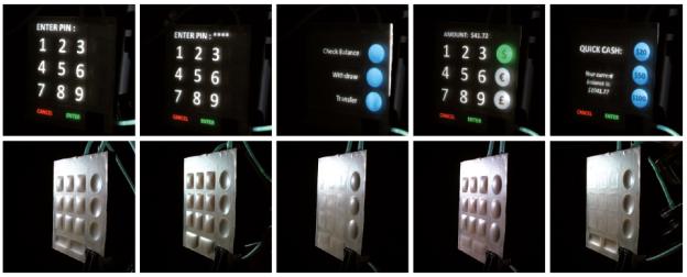 Die Buttons können, je nach Bedarf durch Luftüberdruck nach außen oder durch Luftunterdruck nach innen gewölbt werden.