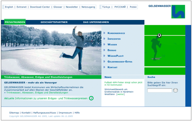 Internetseite der Gelsenwasser AG (http://gelsenwasser.de).