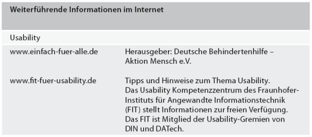 Weiterführende Informationen im Internet