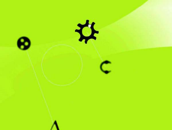 Zoom und Rotation. Manipulation durch Greifen und Verschieben auf allen Achsenebenen (horizontal, vertikal, diagonal), um ein Objekt zu verschieben bzw. um es zu rotieren. Durch proportionale Veränderung der Größe, der Farbintensität und der Bildschärfe der bewegten Elemente kann die Objekthaftigkeit und die Raumillusion verstärkt werden. (Design: Torsten Stapelkamp)