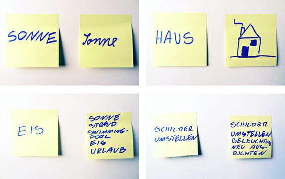 Notitzzettel, Postits des Sesign Thinking Workshops, Torsten Stapelkamp