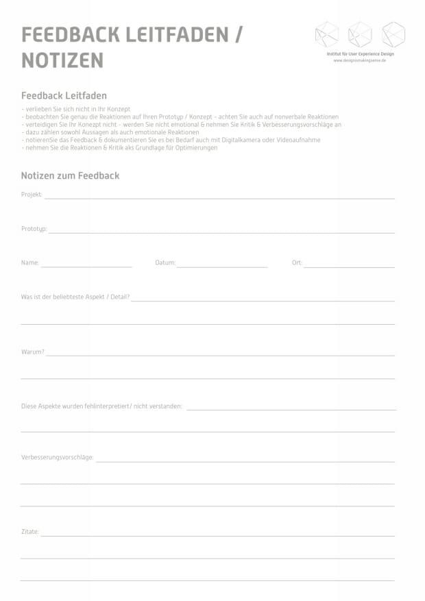 Feedback Leitfaden. Toolkit für Service Design Thinking von Prof. Torsten Stapelkamp, Institut für User Experience Design, www.designismakingsense.de