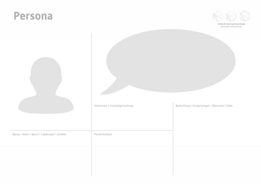 Persona. Toolkit für Service Design Thinking von Prof. Torsten Stapelkamp, Institut für User Experience Design, www.designismakingsense.de